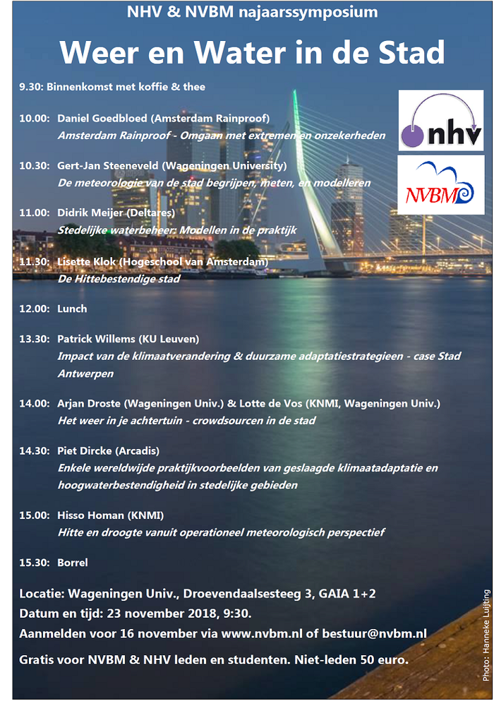 """NVBM/NHV najaarssymposium """"Weer en Water in de Stad"""""""