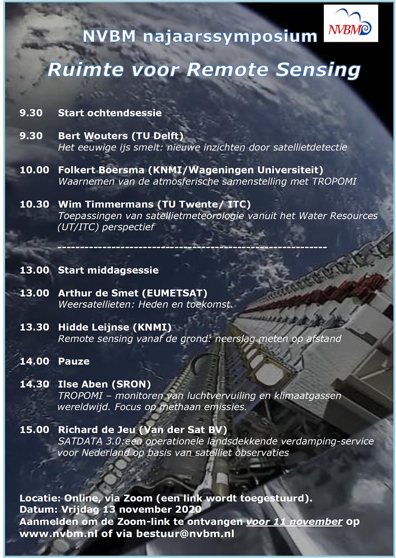 13 november NVBM najaarssymposium: Ruimte voor Remote Sensing  (online)