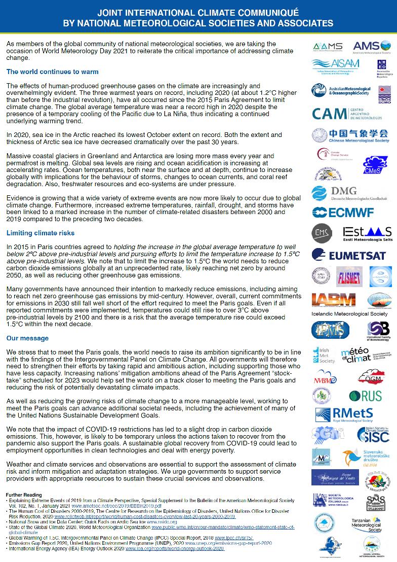 NVBM ondersteunt Global Climate Statement