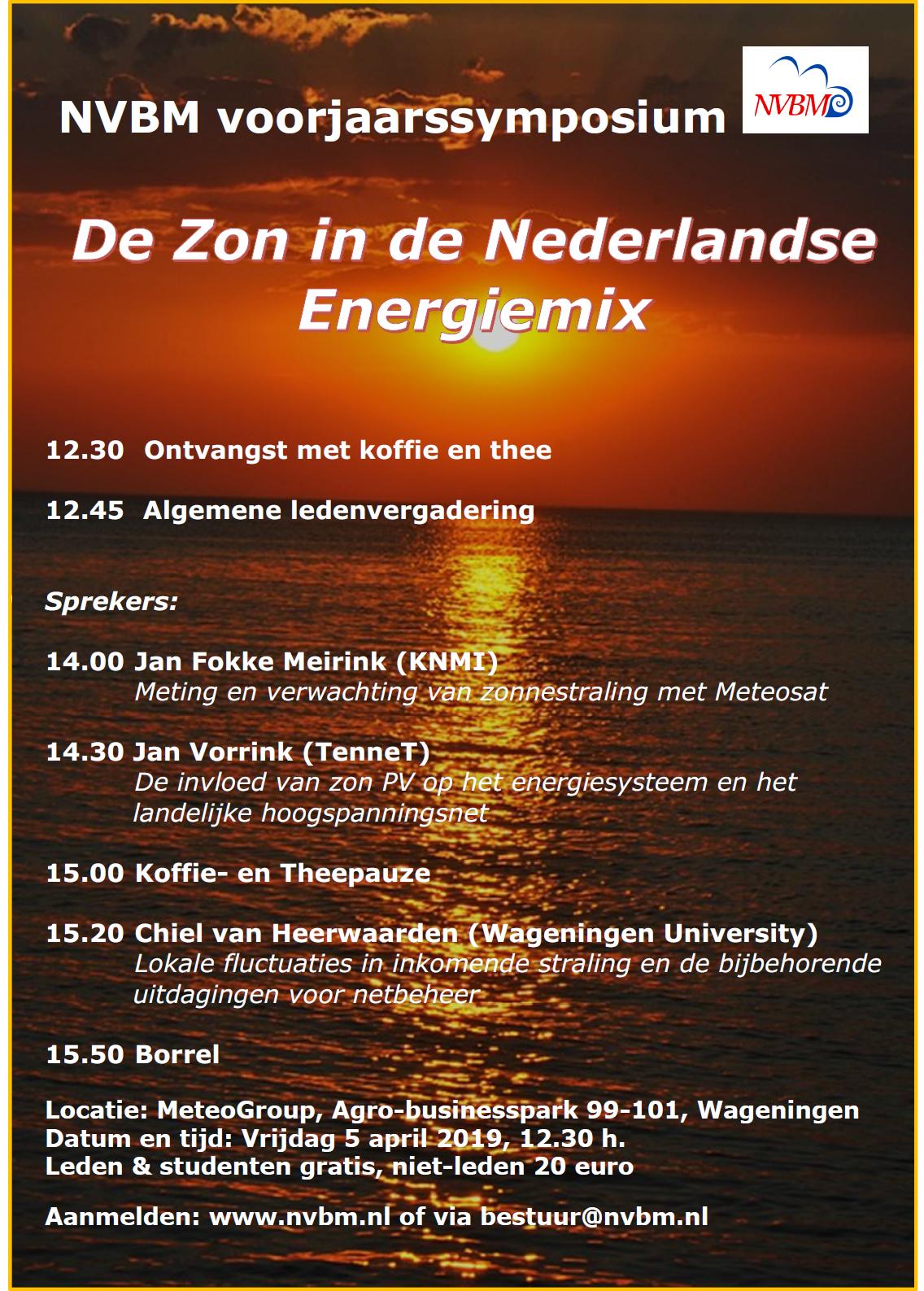 """Voorjaarssymposium """"De zon in de Nederlandse Energiemix"""", en ALV: 5 april va 12.30"""