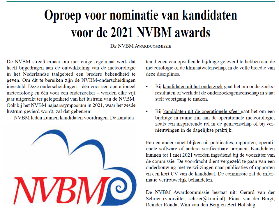 Oproep NVBM awards 2021!