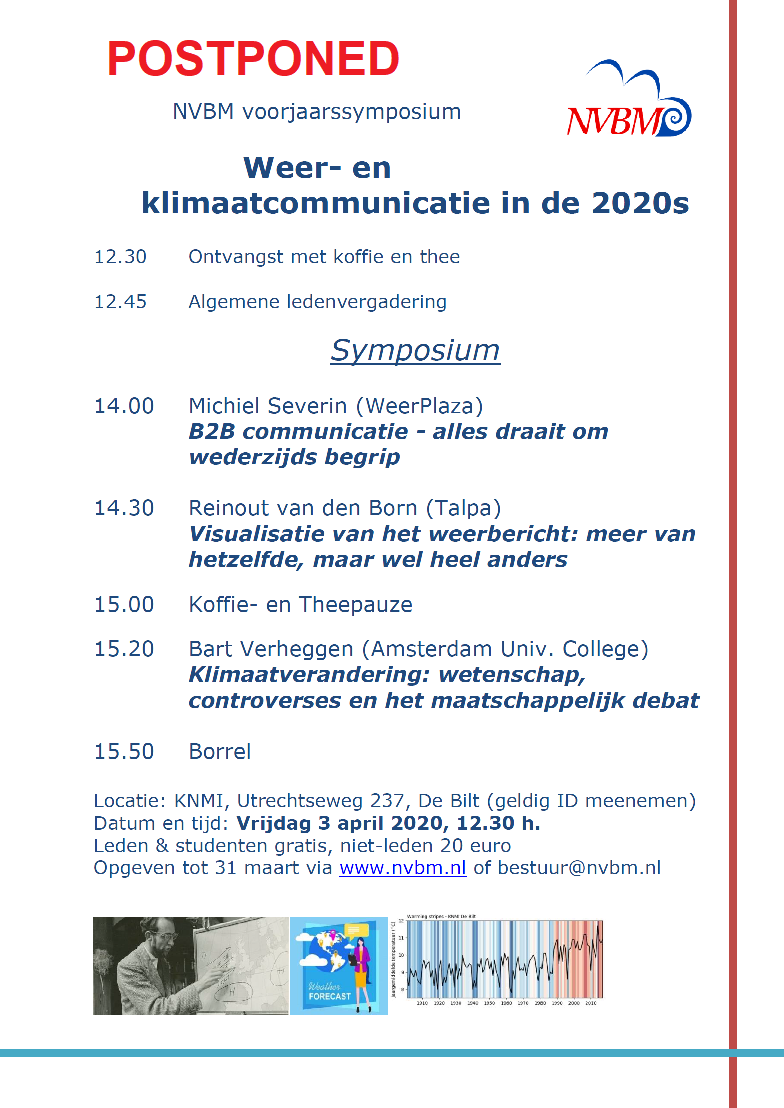 POSTPONED: Voorjaarssymposium en ALV: 3 april 2020: Weer- en klimaatcommunicatie in de 2020s